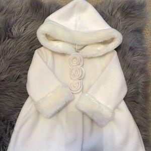 Starting Out Faux Fur Trim Coat